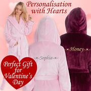 Personalised Ladies Womens Dressing Gown Robe With Socks Present For Her Fiance