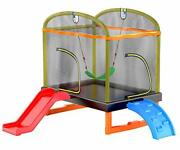 6.5 Ft 4-in-1 Rectangle Trampoline For Girls And Boysage 1-8 With Climb And Swing