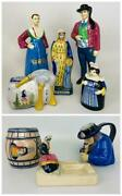 Lot 8 Antique Hb-henriot Quimper French Pottery Faience Figure Pitcher Dish Mali
