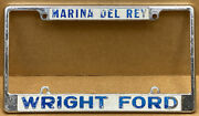 Rare Ford Wright Ford Marina Del Rey Ca. 1970s-80s Car License Plate Frame