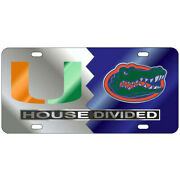 Miami Hurricanes / Florida Gators Mirrored House Divided License Plate / Tag