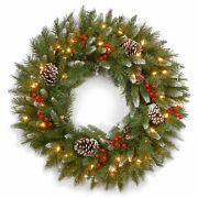 National Tree Frosted Berry Wreath With Clear Lights 24