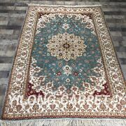 Yilong 4and039x6and039 Handknotted Silk Rug Floral Blue Home Interior Carpet Y433b