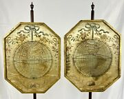 Antique Pair Of 18th C. George Iii Embroidery Needlework World Map Pole Screens