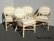 Set Of Four Vintage French Country Mcguire Bamboo Twist Dining Room Chairs