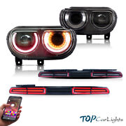 Vland Rgb Headlights And Red Tail Lights For 2008-2014 Dodge Challenger Assembly