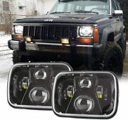 Pair 7x6 5x7in Led Projector Headlights High/low Beam Drl For Jeep Cherokee Xj