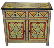 Moroccan Dresser Night Stand Table Wood Moorish Handmade And Painted Double Beige