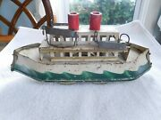 Antique Early Dayton Preesed Steel Tin Hill Climber Friction Toy Boat Battleship