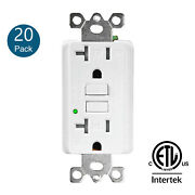 20pk 20amp Gfci Outlet Receptacle With Wall Plate Led Indicator Etl Listed White