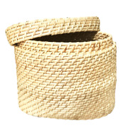 Storage Basket Box With Lid Oval Natural Cane Hand Woven Decorative Eco Friendly