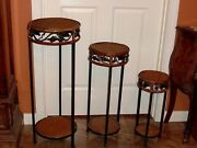 Pickup Houston 3 Furniture Stands 2 Tiered Round Metal Bamboo Handmade Vintage
