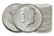 100 Face Value 90 Uncirculated Full Luster Silver Kennedy Half Dollar Coins