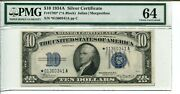 Fr 1702 Star 1934a 10 Silver Certificate Pmg 64 Choice Uncirculated