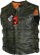 Menand039s Tactical Style Side Buckle Motorcycle Leather Vest Concealed Carry