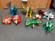 Paper Mache Bobble Head Animal Nodders Lot Of 9 Turle Dinosaur Rooster Fish