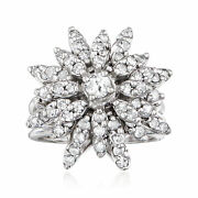 C. 1970 Vintage 1.50 Ct. T.w. Diamond Cluster Ring In 14kt White Gold. Size 6.25