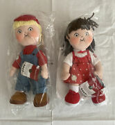 Lot Of 2 Campbell Kids 100 Years Century Edition   Plush Soup Boy And Girl   Nib