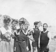 Vtg 1903 Boys And Girls On Beach In Bathing Suits Catalina Island Photo 1808