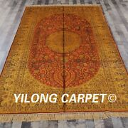 Yilong 6'x9' Handknotted Silk Carpet Gold Washed Antique Mansion Rug G43c