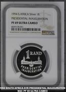 1994 Presidential Inauguration Pf 69 Ngc Silver Proof 1 Rand South Africa R1