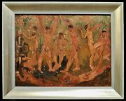 1950and039s Post Impressionist Oil Canvas Nude Figures Dancing Mid Century Painting