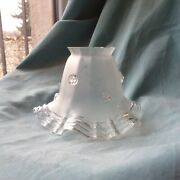 Antique Ruffle Glass Wall Sconce Lampshade Victorian Frosted Light Mouth Blown