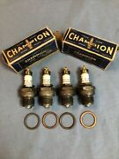 Champion C4 Model A B Ford Vintage Antique Brass Top Spark Plugs C-4 Nice Cond.