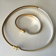 Georg Jensen Sterling Silver And Gold Vermeil Bracelet And Neck Ring Ensemble No.