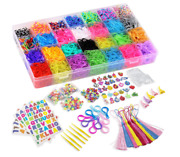 Rubberband /loom Band Bracelet Making Kit--1000and039s Of Pcs Great For Lots Of Fun