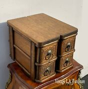 Vintage French Country Quarter Sawn Oak Table Top Storage 4 Drawers Cabinet