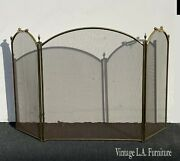 Vintage French Country Gold Brass Three Panel Fireplace Screen W Metal Mash