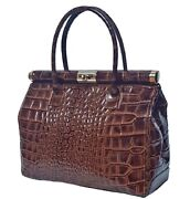 Woman Genuine Leather Handbag With Crocodile Print Bc9001 Brown. Made In Italy.