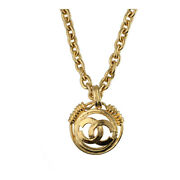 Vintage Cc Logo Necklace Brass Gold Long Chain 21006503si