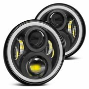 Pair Fit For Ford Bronco 1966-1977 7 Round Led Headlights Halo Drl Projector