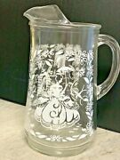 Vintage Heavy Clear Glass Pitcher With White Flowers / Design Ice Lip 8 1/2