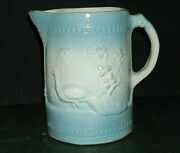Early Blue And White Peacock Pitcher - Brush Mccoy Pottery Ohio Oh - Stoneware