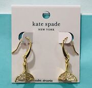 Kate Spade Whale Tail Pave Drop Dangle Earrings Gold Plated Sparkle Cz New