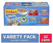 ♨️32 Pack Friskies Gravy Wet Cat Food Variety Pack Savory Shreds 5.5 Oz. Cans♨