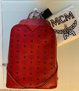 Mcm Mono Leather Red Backpack Cognac Calf Leather Designer Andpound1115 100 Authentic