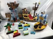 3 Huge Disney Jake And The Neverland Pirates Playsets Lot Pirate Ship And Lego