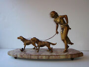 Bronze Deco Sculpture Woman Walking Dogs On Marble Base