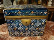 From Moser Book 4500 19thc Hinged Glass Platinum Blue White Floral Moser Box