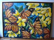 Orig Butterfly Painting Showcasing Butterflies And Flowers Elsa Boisjoly Quebec
