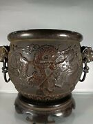 11and039and039 Pure Bronze Red Copper Carved The Treasure Wealth Dragon Cup Jar Container