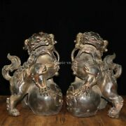 Pair 13 Inch Old Bronze Home Feng Shui Blessing Fortune Fu Foo Dogs Lion Statue
