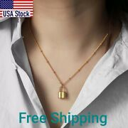Simple Lock Pendant Chokers Necklaces Gold Filled Satellite Beaded Ball Chain