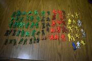 Huge Lot Of Plastic Army Men Cowboys Indians Marx Mpc Timmee More Vintage