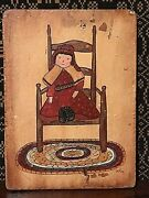Vintage Primitive Folk Art Original Painting Victorian Chair Doll And Toys