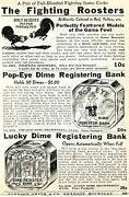 1936 Small Print Ad Of Fighting Roosters Popeye And Lucky Dime Registering Bank